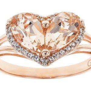 Jewelry - MORGANITE WITH WHITE TOPAZ 18K ROSE GOLD OVER RING